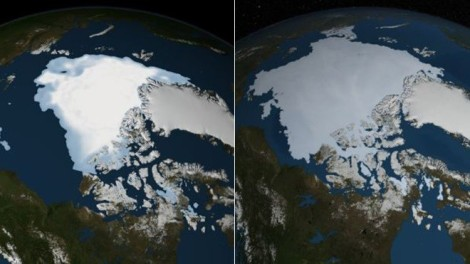 NASA satellite images show August 2012 [left] and August 2013 [right]. (Photo: NASA)